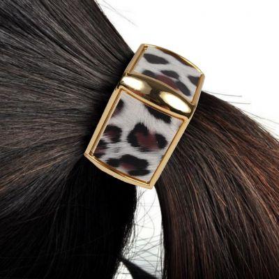Quadratischer Haarring mit Leoparden Muster - 1