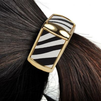 Quadratischer Haarring mit Zebra-Look - 1