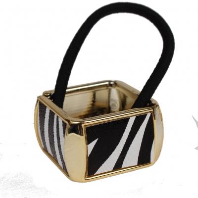 Quadratischer Haarring mit Zebra-Look - 2