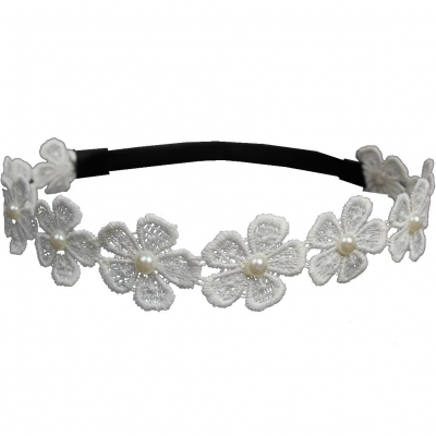 Spitzenstoff Haarband große Blüte mit Perle - 2
