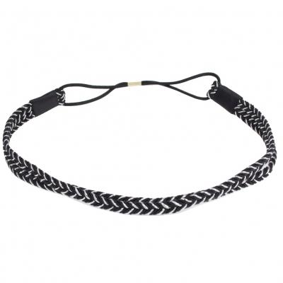 Schönes Geflochtenes Haarband in der Farbe Schwarz / Silber - 1