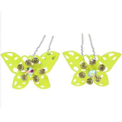 2 große Haarnadeln Strass Schmetterling hairpins neon gelb - 2