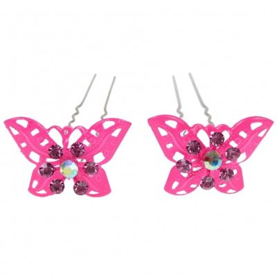 2 große Haarnadeln Strass Schmetterling hairpins neon pink - 1