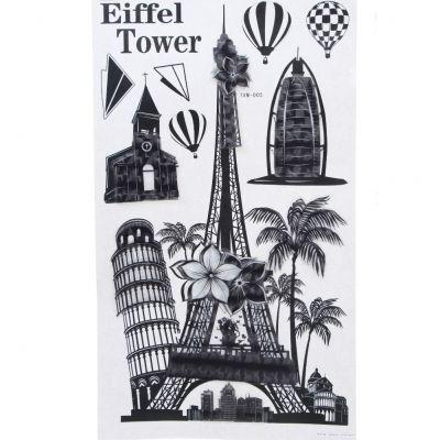 3D Sehenswürdigkeiten Eiffelturm Wanddeko Wandtattoo Wandaufkleber - 1