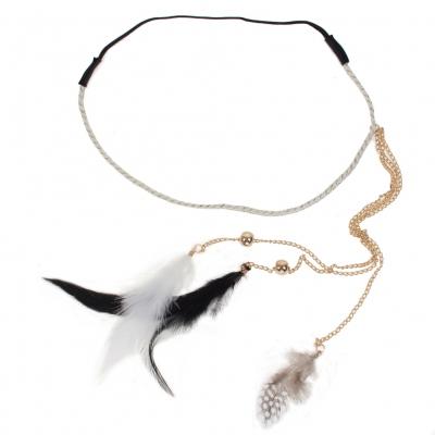 Haarband Haarkette mit Federn versehen - 1