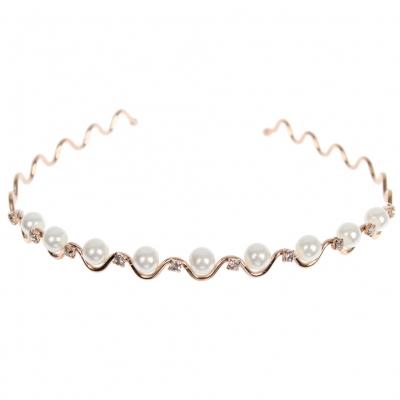 Luxus Strass Perlen Haarreif Hochzeit Braut Kommunion Haarschmuck - 1