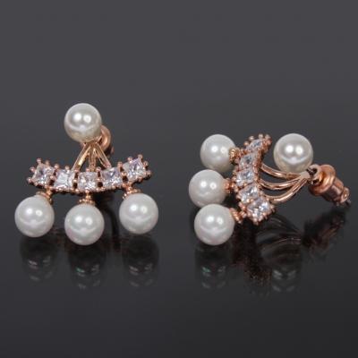 Designer Perlen Ohrringe mit Strass - 1