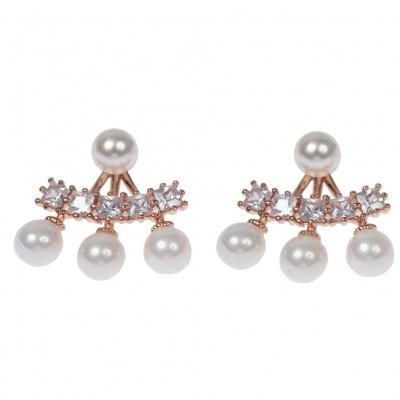 Designer Perlen Ohrringe mit Strass - 2