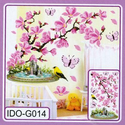 3D Kinder Wandsticker Wanddeko Wandtattoo Wandaufkleber Kirschblüten Vogel - 1