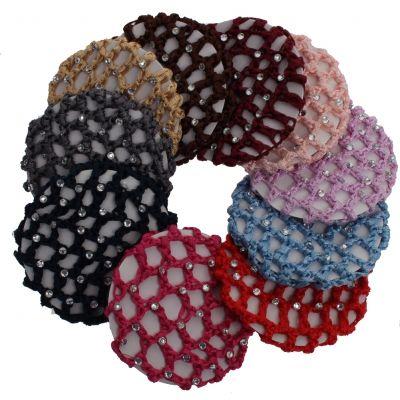 Dutt Netz Haarnetz Bun Frisurenhilfe Stoff Knotennetz mit Strass - 1