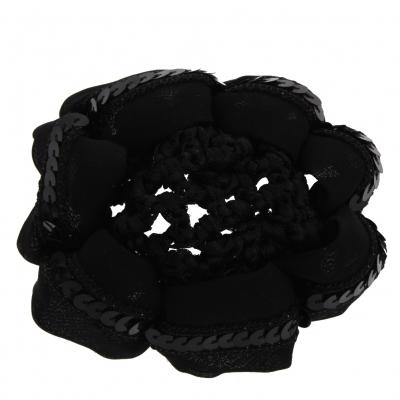 Dutt Netz Haarnetz Bun Stoff Knotennetz mit Pailletten bestückt schwarz - 1