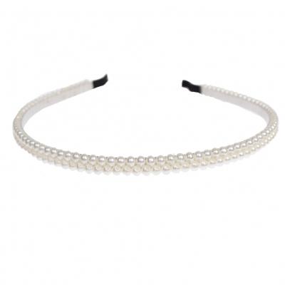 Haarreif mit Doppel Perle in Creme - 1
