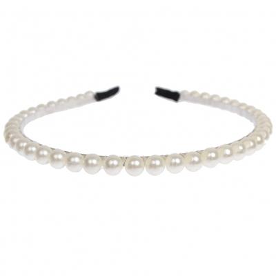 Haarreif mit Perlen in der Farbe Creme - 1