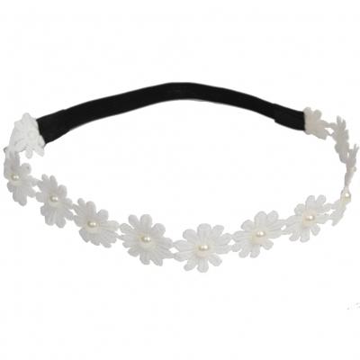 Spitzenstoff Haarband aus Blüte mit Perlen - 1