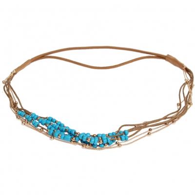 Haarband Boheme mit farbigen Perlen und goldener Kette Blau - 1