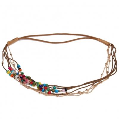 Haarband Boheme mit farbigen Perlen und goldener Kette Bunt - 1