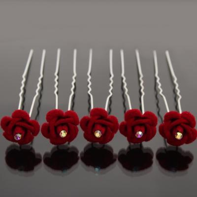 5 Rosen Haarnadeln mit Strass stein Blume Hairpins rot - 1
