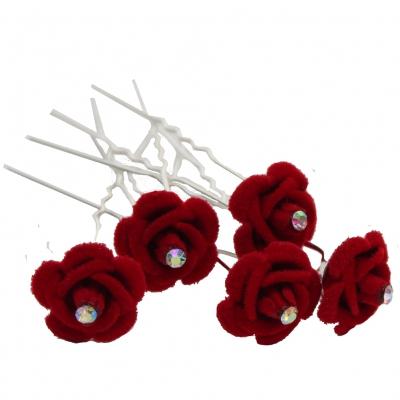 5 Rosen Haarnadeln mit Strass stein Blume Hairpins rot - 2