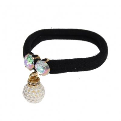 Nylon Haargummi Elastisch Haarband Zopfband schwarz - 1