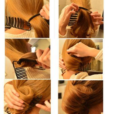 Bananen Frisurenhilfe Haarkamm Haardreher in Schwarz - 3