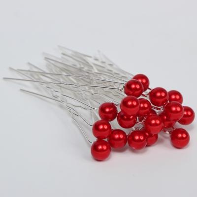20 Haarnadeln mit Perle rot - 1