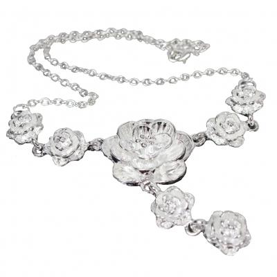 Halskette mit Rosenmotiv und Edelstahl Kette - 1
