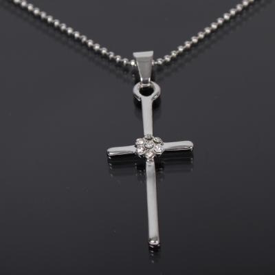 Halskette mit Kreuz Anhänger Kette Strass - 1
