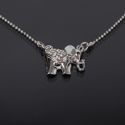 Halskette mit Elefant Anhänger Kette Strass - 1