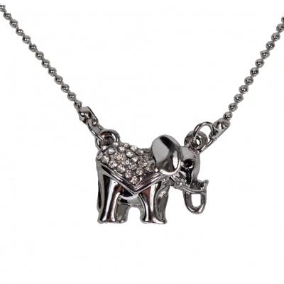 Halskette mit Elefant Anhänger Kette Strass - 2