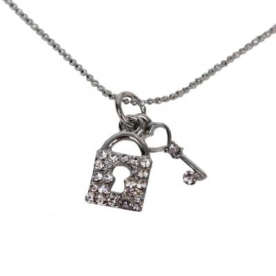 Halskette mit Schloss und Schlüssel Anhänger Kette Strass - 2