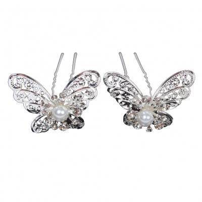 2 Haarnadeln Strass Schmetterling Braut Kommunion Hochzeit Ball Haarschmuck - 1