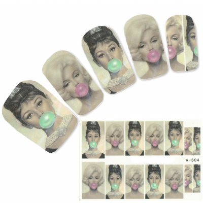 Tattoo Nail Art Marilyn Monroe Aufkleber Nagel Sticker