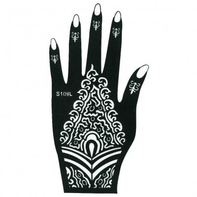 henna tattoo schablone f r die linke hand der. Black Bedroom Furniture Sets. Home Design Ideas