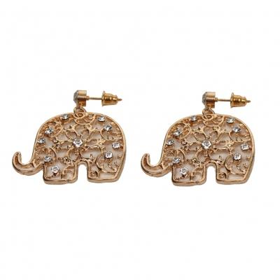 Elephant Ohrstecker Ohrringe in der Farbe gold mit Strass - 1