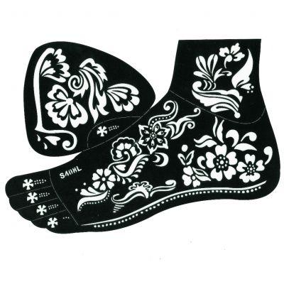 Henna Tattoo Schablone für den rechten oder linken Fuß - 1