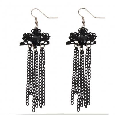 Schöne Gothic Ohrringe mit Perle in Schwarz - 1