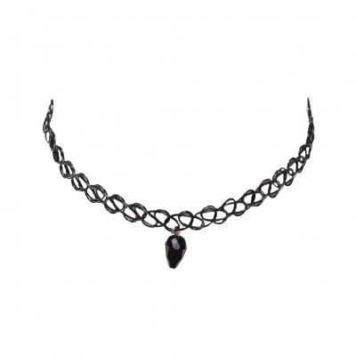 Tattoo Halsband mit Schwarzem Strass - 1