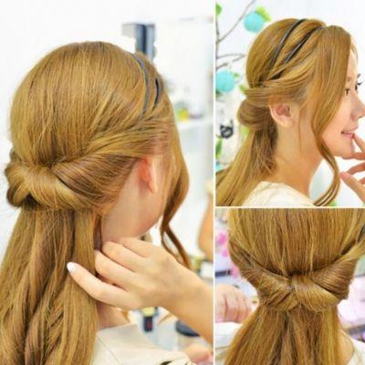 Frisurenhilfe Haarreif mit Haarband in Braun - 1