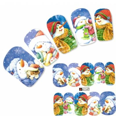 Tattoo Nail Art Schneemann Winter Aufkleber Nagel Sticker