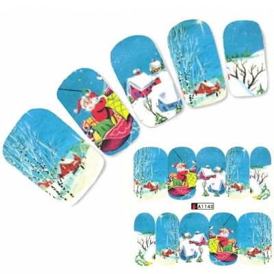 Tattoo Nail Art Nikolaus Santa Winterlandschaft Aufkleber Nagel Sticker