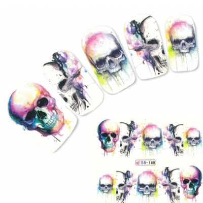 Nagel Sticker Tattoo Nail Art rauchender Totenkopf