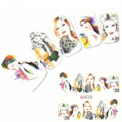 Tattoo Nail Art Manga Model Mädchen Lifestyle Nagel Sticker