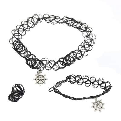 3er Set Halsband Armband Ring Steuerrad - 1