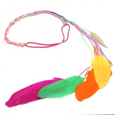 Geflochtenes Haarband Haarkette mit Feder in der Farbe Bunt - 1