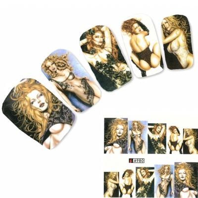 Tattoo Nail Art Erotik Modell Dessous Aufkleber Nagel Sticker