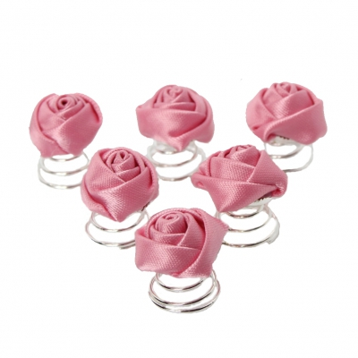 6 Curlies Braut Kommunion Hochzeit Haarschmuck Rose Rosa - 1