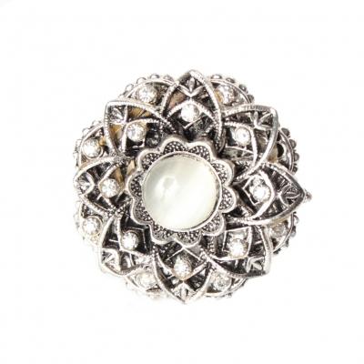 Edelstahl Ring Strass Perlen One Size Modell 5 - 1