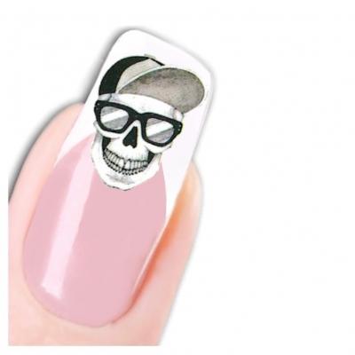 Tattoo Nail Totenkopf mit Brille und Bart - 1
