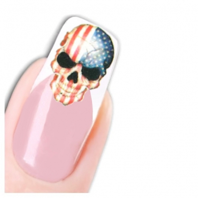 Tattoo Nail Art Totenkopf in US Farben - 1