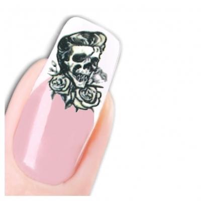 Tattoo Nail Totenkopf mit Rosen und Elvis Frisur - 1